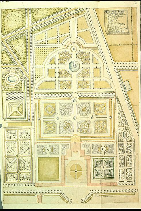 Onbekend ontwerp plattegrond 1706 van de tuinen van het for Ontwerp plattegrond